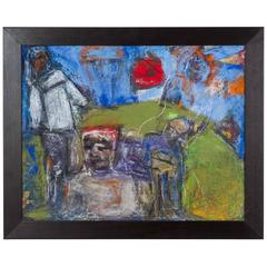 Mixed Media Painting of Five Figures