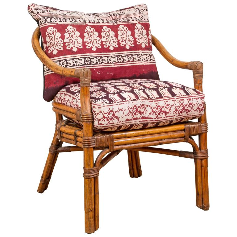 Vintage Rattan Chair With Indian Fabric Cushions For Sale