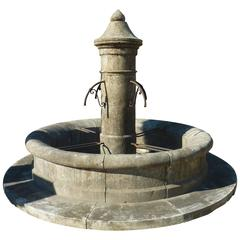 Large and Rustic Village Central Fountain in French Natural Limestone