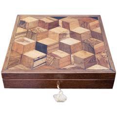 18th Century Tunbridge Ware Writing Box Tumbling Block Specimen Woods circa 1800