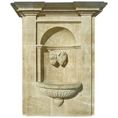 Impressive Wall Fountain in French Natural Limestone with Hand Sculpted Vine