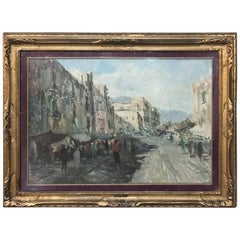 Antique Impressionist Framed Oil Painting by Francesco Filosa