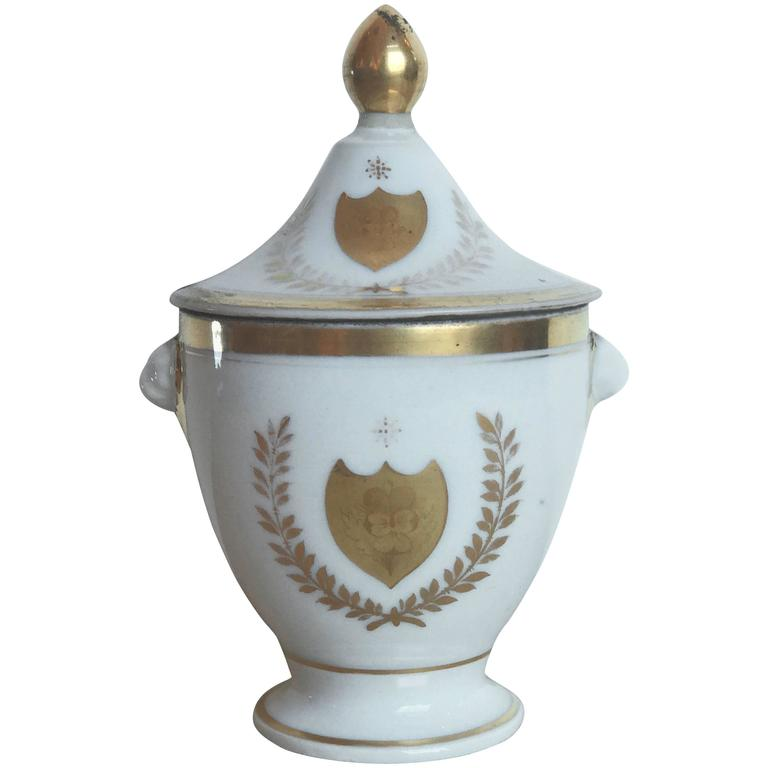 19th Century French Porcelain Vase with Lid