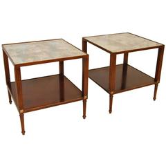 Pair of Cherry Lamp Side Tables with Mirrored Tops by Baker Furniture