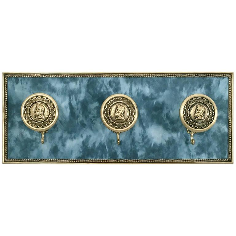 Italian Fabric and Brass Wall-Mounted Coat Hook, 1950s