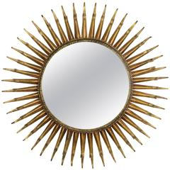 French 1960s Gilt Iron Eyelash Double Layered Round Sunburst Mirror