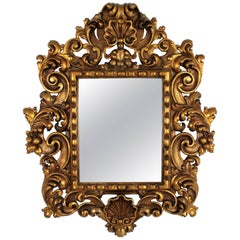 Spanish 19th Century Rococo Style Carved Giltwood Mirror