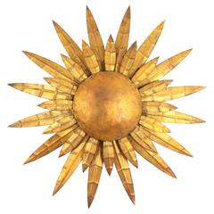French 1950s Gilt Iron Sunburst Wall Sconce or Wall Decoration