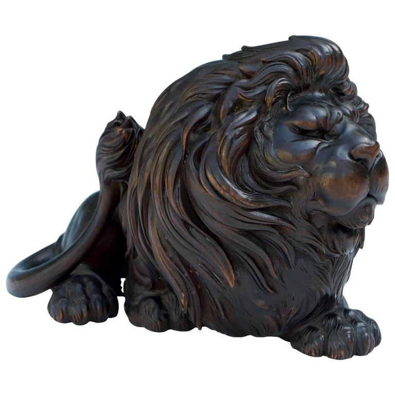 Japanese wood sculpture okimono of lion for sale at stdibs
