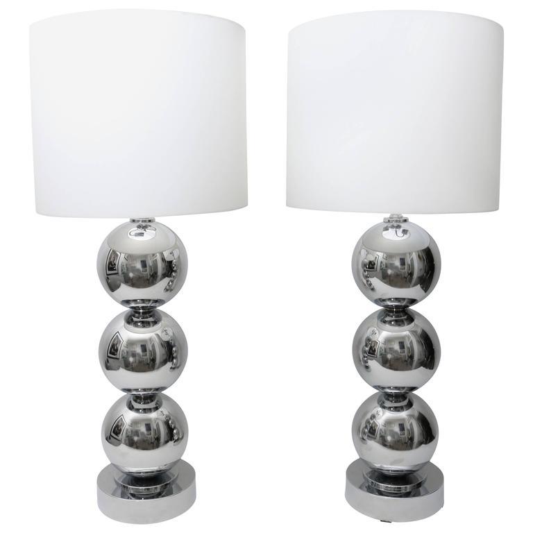 Pair of Gaetono Sciolari Style Polished Chrome Table Lamps