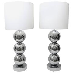 Pair of Gaetono Sciolari Style Polished Chrome Table Lamps