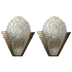 Pair of Signed Degue French Art Deco Sconces