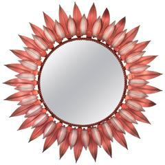 Unusual Pink and Silver Iron Double Layered Sunburst Mirror, Spain, 1960s