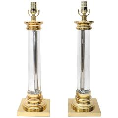 Pair of Karl Springer Style Table Lamps in Brass and Lucite