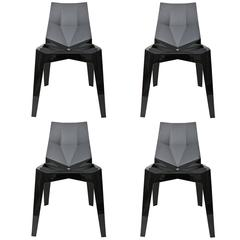 Set of Four Black Side Chairs