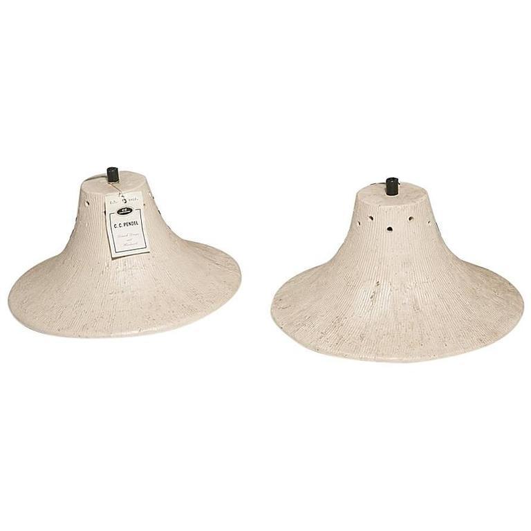 Danish Ceramic Lamp Fixtures, Set of Two in Bone