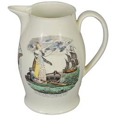 English Transferware Polychrome Creamware Jug