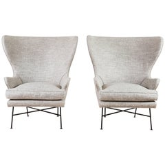Pair of Modern Highland Wingback Chairs by Lawson-Fenning