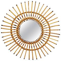 1950s French Riviera Rattan Asymmetric Sunburst Mirror with Pyrography Accents