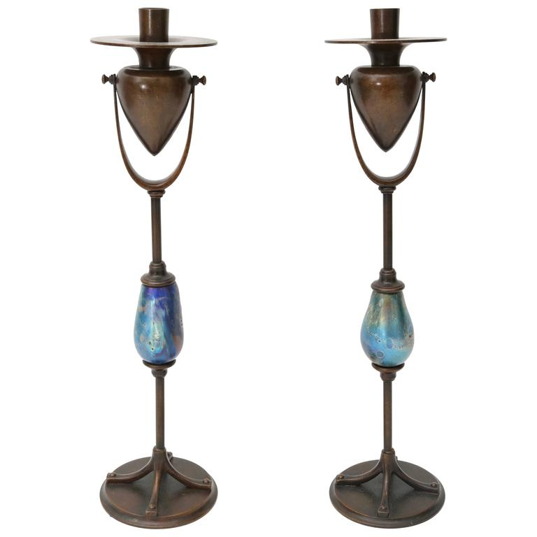 Pair Of Candlesticks Louis C Tiffany Furnaces Inc