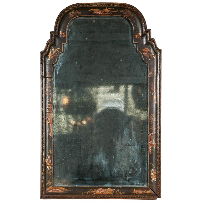 Rare Queen Anne Wall Mirror of Small Size For Sale