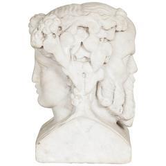 Well Carved 19th Century Roman Marble Figure of Janus