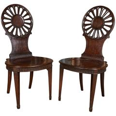 Pair of Mahogany Hall Chairs in George III Style
