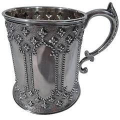 English Sterling Silver Architectural Gothic Revival Baby Cup
