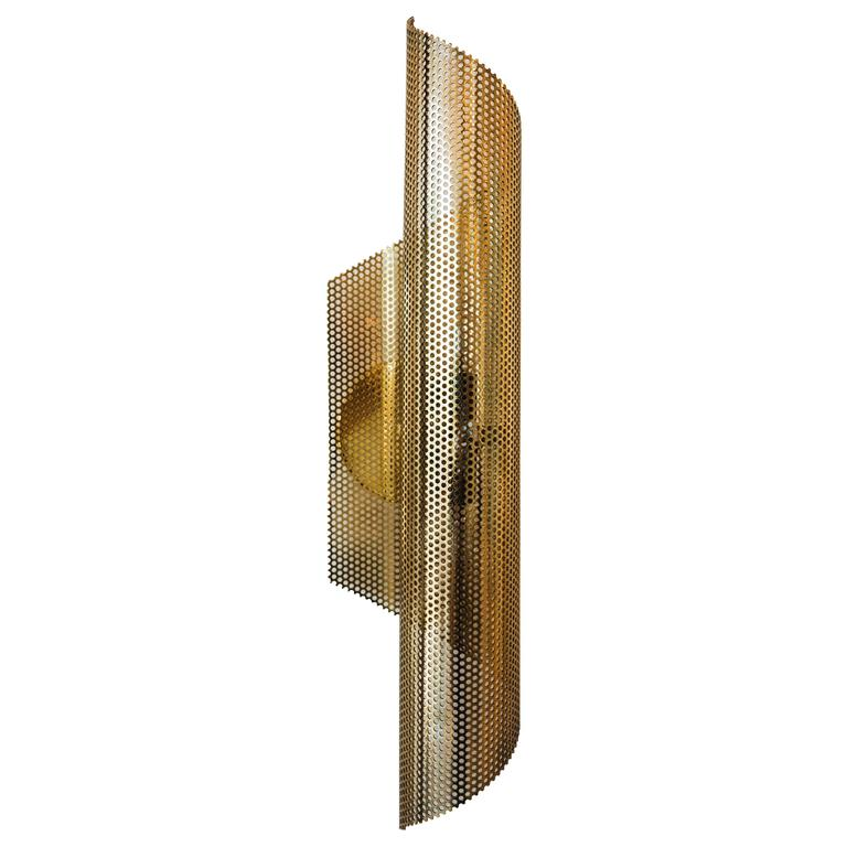 Brass Rolled Perforated Sconce by Lawson-Fenning 1