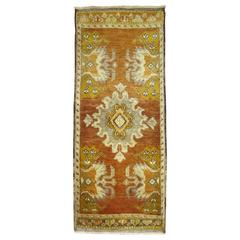 Vintage Turkish Oushak Brown and Chartruese Rug