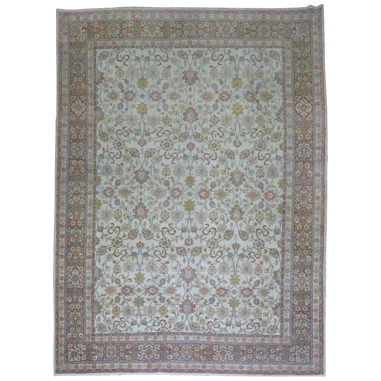 Shabby Chic Ivory Ground Persian Rug 1