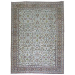 White Antique Persian Traditional Kashan Wool Oriental Rug
