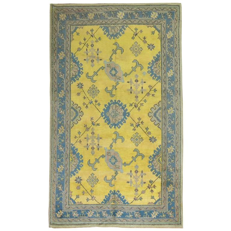 Antique Turkish Oushak in Bright Yellow 1