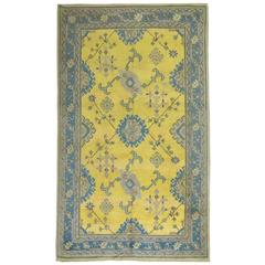 Antique Turkish Oushak in Bright Yellow