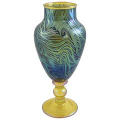 Signed LCT Tiffany King Tut Pattern Iridescent Footed Vase