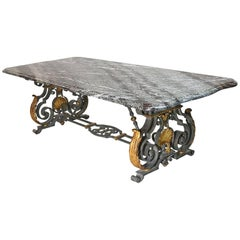 French Rococo-Style Campan Melange Marble-Top Dining Table with Forged Iron Base