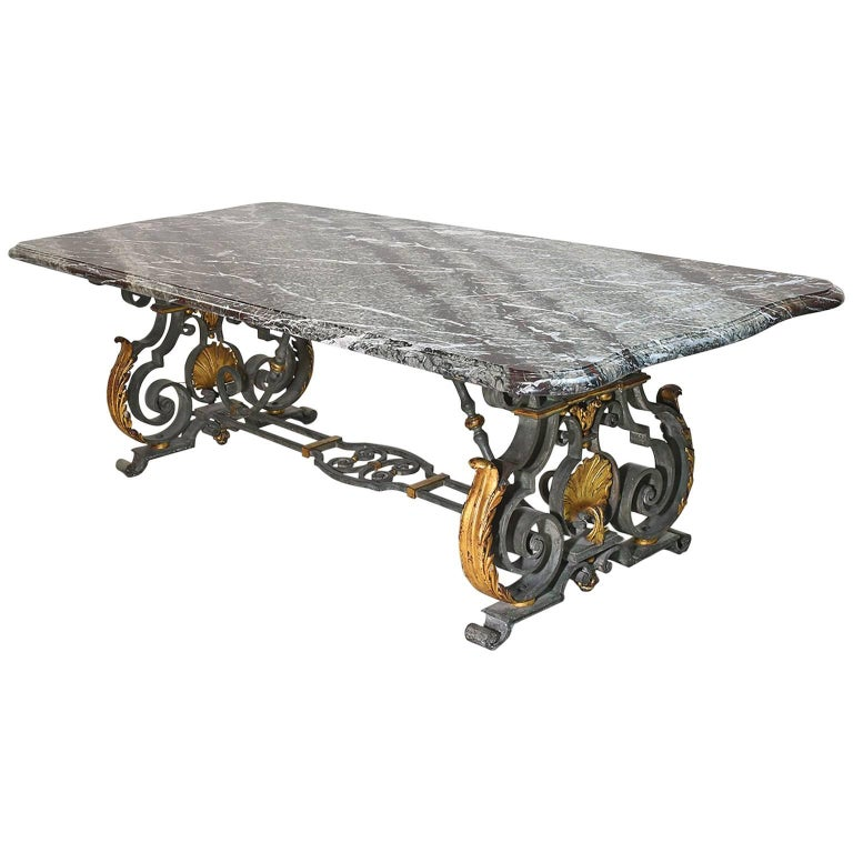 French Rococo-Style Campan Melange Marble-Top Dining Table with Forged Iron Base For Sale