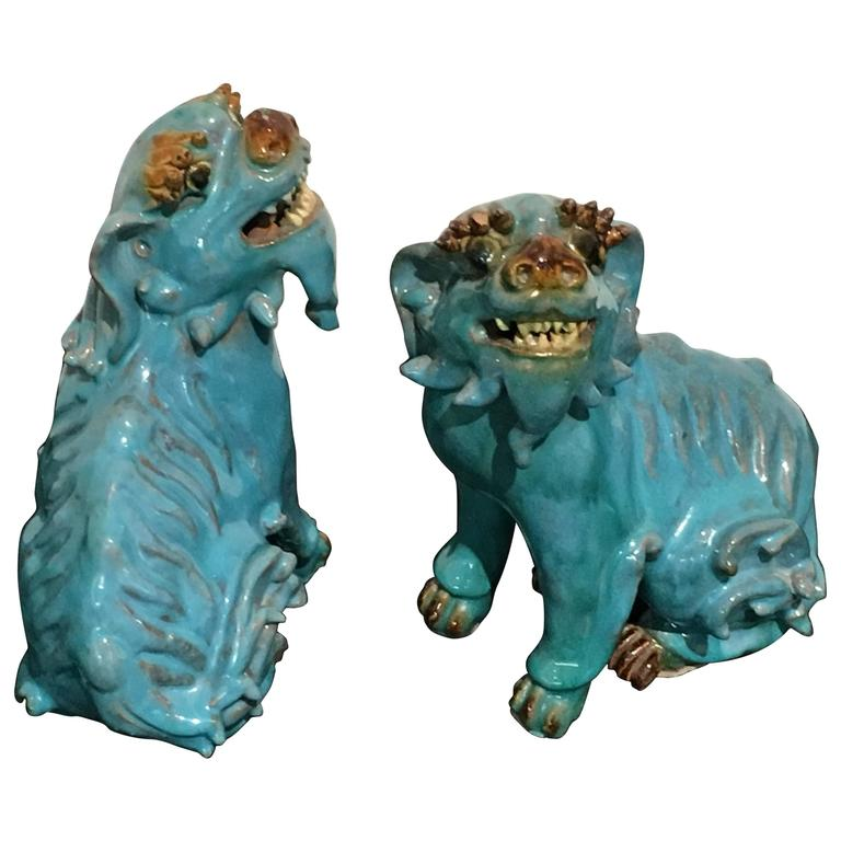 Pair of Chinese Turquoise Glazed Shiwan Pottery Foo Dogs