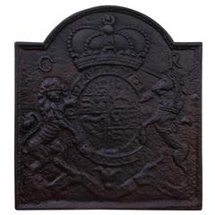 English Cast Iron Fireback with Royal Coat of Arms by Thomas Elsley, Circa 1830