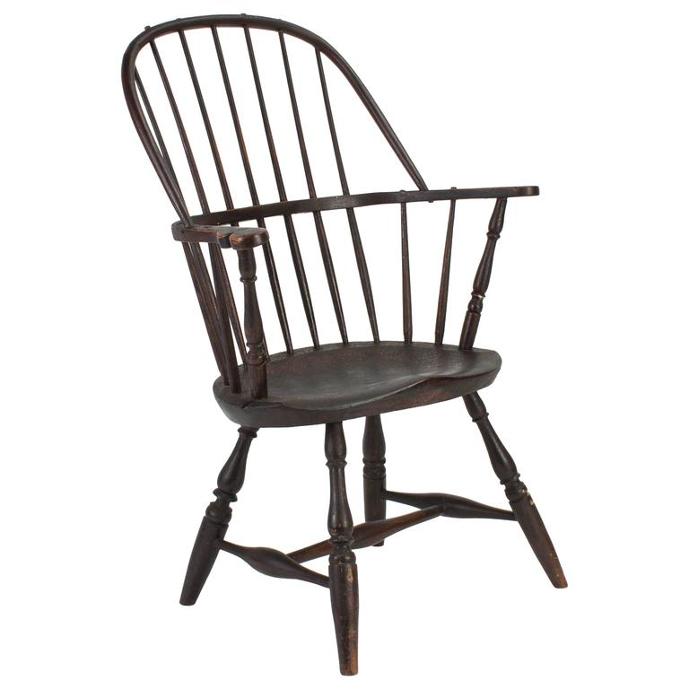 18th Century Pine and Hickory Black Windsor Armchair