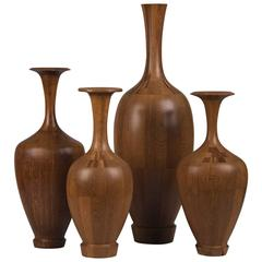 Collection of Four Specimen Timber Vases, De Coene Frères, circa 1940