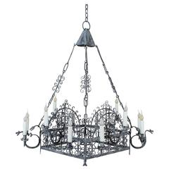 Vintage French Painted Iron Square Iron Chandelier, circa 1930