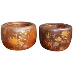 Pair of Japanese Wood and Copper Lined Inlaid Braziers, Circa 1870