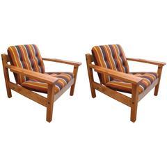 Pair of American Mid-Century Pine Armchairs