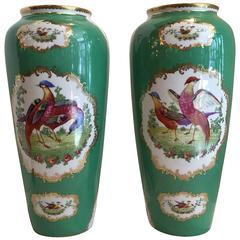 Pair of Austrian Porcelain Large Vases in Chelsea Bird Pattern