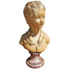 French Terra Cotta and Marble Figural Boy Bust On Plinth, Houdon, Circa 1790