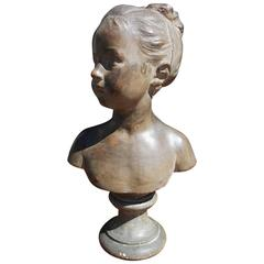French Terra Cotta Figural Girl Bust on Circular Plinth, Houdon, Circa 1780