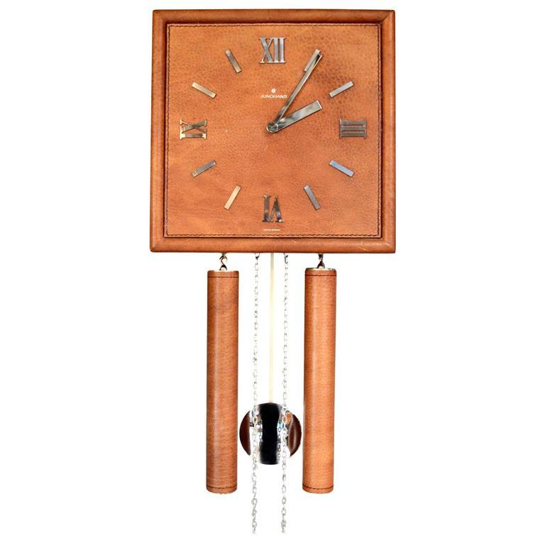 German Leather Wall Clock