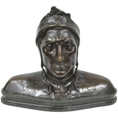 Cast Bronze Dante Alighieri Grand Tour Bust Sculpture Statue on Marble
