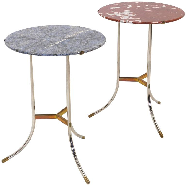Complimenting Pair of Marble, Brass and Chrome Cedric Hartman Side Tables